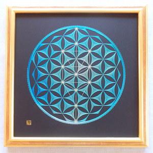 神聖幾何学フラワー&ツリーオブライフ (額縁付)