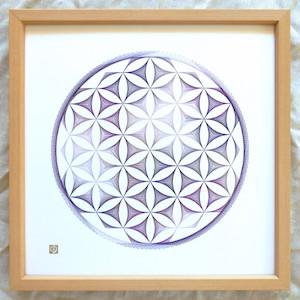 神聖幾何学フラワーオブライフ【紫】 (額縁付)