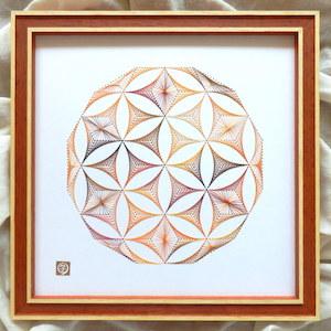 神聖幾何学シードオブライフ【橙】 (額縁付)